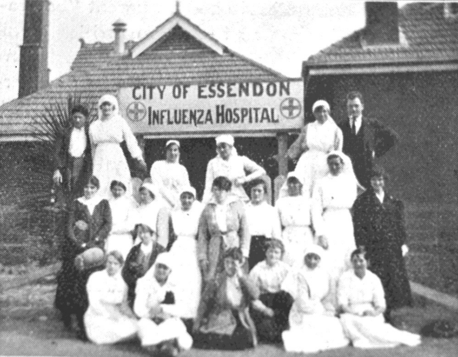 This photograph shows Essendon High School (now the Essendon Campus of Essendon Keilor College on Buckley Street) in 1919 when the school closed temporarily to become the City of Essendon Influenza Hospital. (EHS Collection - 00001)